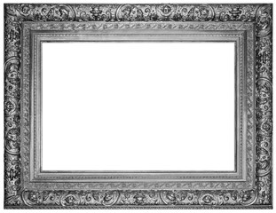 Vintage silver plated wooden frame Isolated with Clipping Path