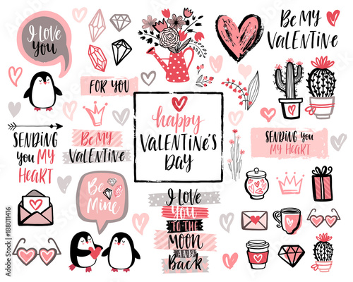 Wall mural Valentine`s Day Lettering Design Set with hand drawn elements.