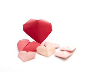 Group of Origami Hearts for Valentine's Day