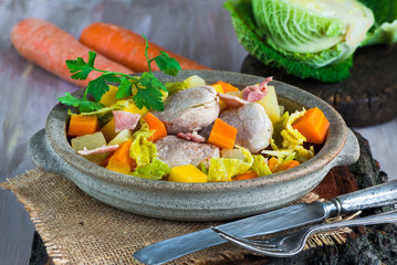 Irish stew with pork and vegetables cooked in cider