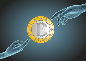 Two wireframe human hands pointing to bitcoin