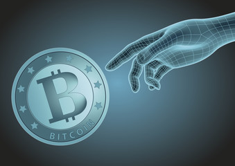 Human hand pointing to bitcoin