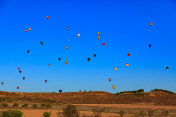 Hot air balloons in the blue sky