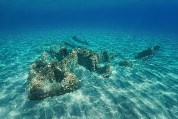 Remains of a wrecked ship underwater on a sandy seabed, Mediterranean sea, Vermilion coast, Pyrenees-Orientales, Roussillon, France