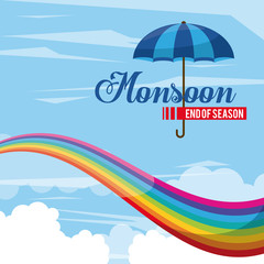 Monsoon end of season icon vector illustration graphic design