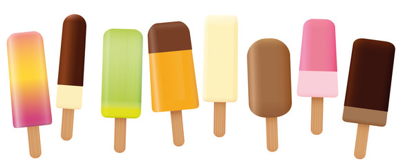 Ice lolly collection - loosely arranged set of eight tasty fruit and chocolate popsicles with different shapes and flavors - isolated vector illustration on white background