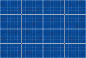 Solar thermal collector - flat plate system - vector illustration of photovoltaic technology - blue background pattern, horizontal orientation.