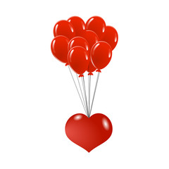 Heart Flying on Red Balloons