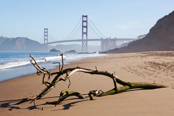 The view of Golden Gate bridge from the baker beach.
