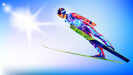 The polygonal colorful figure of a young man Ski Jumping with on a white and blue background. Vector illustration blue background in a geometric triangle of XXIII style Winter games
