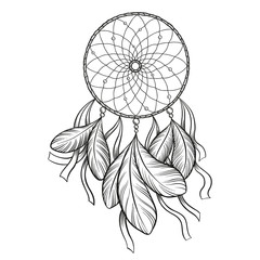 Hand drawn vector black outline dreamcatcher isolated on white background. Good for coloring.