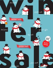 Winter sale. Prices melt. Creative advertising banner illustrated with melting snowmen. Vector illustration