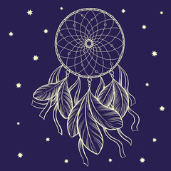 Hand drawn vector outline dreamcatcher surrounded by stars, isolated on dark blue background.