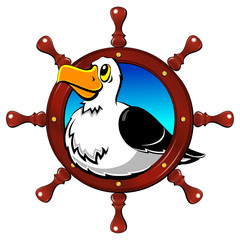 Albatross, a large seagull. Steering wheel, round frame. A label, an emblem, a logo.
