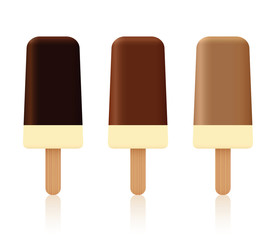 Chocolate ice cream lollys - dark, light and milk chocolate coating - set of three sweet frozen desserts with vanilla filling and different brown shell - isolated vector illustration on white.