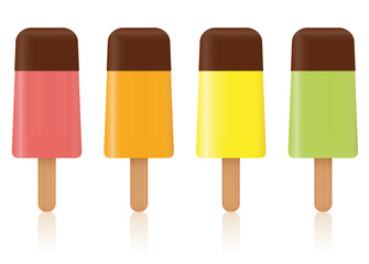 Ice pops - colored fruit ice cream lollys with chocolate glaze topping - set of four frozen popsicles - isolated vector illustration on white background.