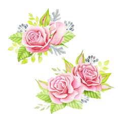 Pink roses bouquet. Watercolor illustration. Cute vintage style. Wedding invitation card element. Greeting card design