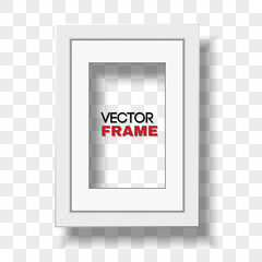 Vertical A4 white certificate frame with passepartout on transparent background