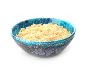 Dish with delicious risotto on white background