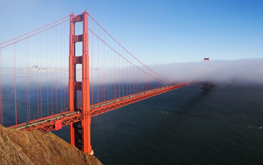 The view of Golden Gate bridge from the hill.