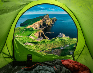 Camp at Neist point lighthouse in Isle of Skye, Scotland