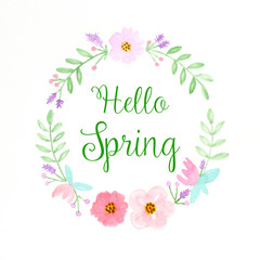 Hello spring, Flowers wreath watercolors, Hand drawing flowers in watercolor style on white paper background, banner