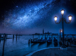 Milky way over the Grand Canal in Venice, Italy