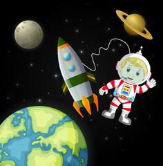 Poster Kosmos the astronauts exploring the galaxy