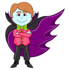 Cute Vampire Cartoon with Smile