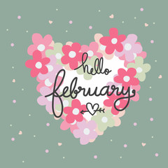 Hello February word and pink Flower heart frame cartoon vector illustration
