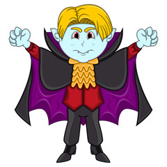 Cute Vampire Cartoon with Smile