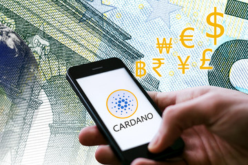 Concept of Cardano (ADA Coin), a Cryptocurrency blockchain platform , Digital money