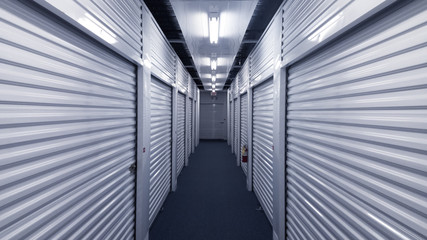 Interior metal storage units. Straight lines 3d perspective.
