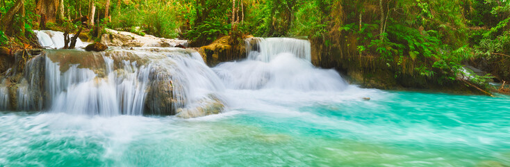 Tat Kuang Si Waterfalls. Beautiful panorama landscape. Laos.