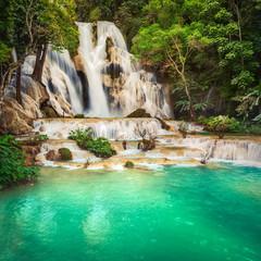 Tat Kuang Si Waterfalls. Beautiful landscape. Laos.