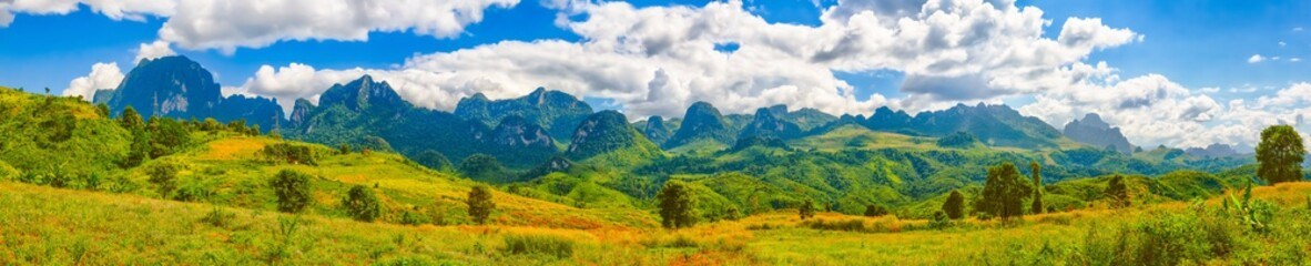 Beautiful landscape, mountain on background.Vang Vieng, Laos. Panorama