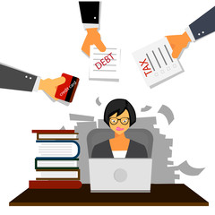 Very busy business woman working hard on her desk in office with a lot of paper work, tax,debt and credit card. Business concept on hard working.
