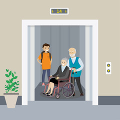 Teenager and  couple of old people in an elevator,