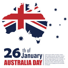 Happy Australia Day poster (banner). Flag of Australia. Map of Australia.