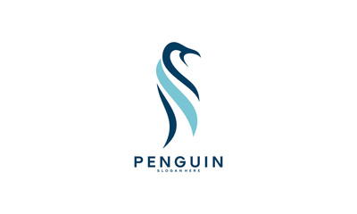 simple Standing Penguin logo designs vector template