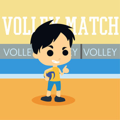 Volleyball on the beach illustration. Cute character playing volleyball on the beach
