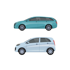 Modern passenger cars for families, long trips, travel, transportation luggage.