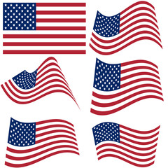 Set of national flags of United States of America isolated on white background. Official colors and proportion of flag of USA