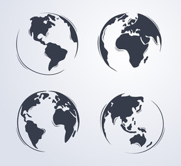 Hand drawn cute cartoon earth globe illustration from four different view