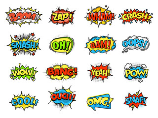 Collection of bright, colorful, multi-colored speech bubbles, with text, texture.