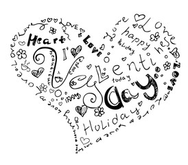 Valentine day heart from symbol. Included happy valentines day and love with holiday words. Black and white hand drawing vector illustration .