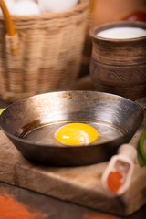 Cooked fried eggs