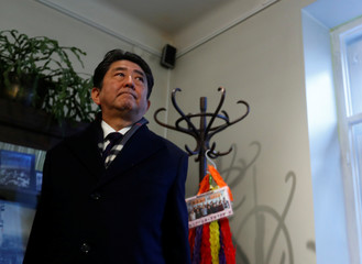 Japan's Prime Minister Shinzo Abe visits a former home of Chiune Sugihara, a Jew-saving Japanese diplomat in Kaunas