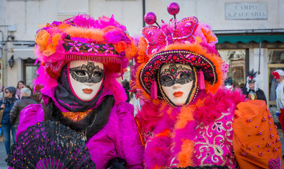 Carnival masks in Venice. The Carnival of Venice is a annual festival held in Venice, Italy. The festival is word famous for its elaborate masks.