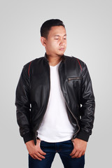 Asian Man Wearing Leather Jacket